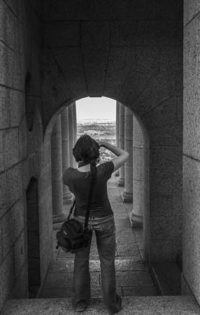 Cathryn shooting a hallway