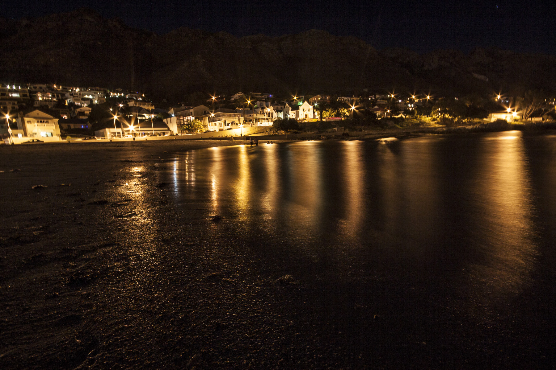 gordons bay beach at night