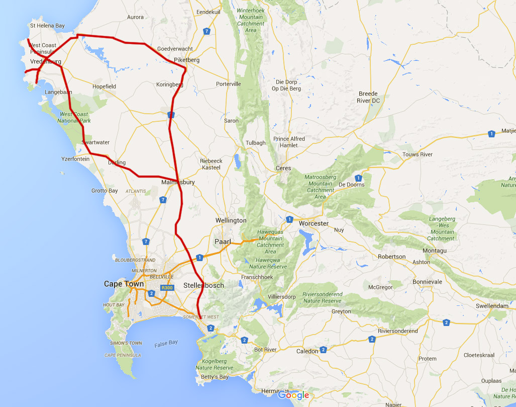 The total route of our trip, a total of 550km, round trip.