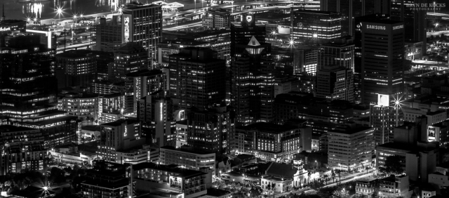 Cape Town Cityscape in Black and White