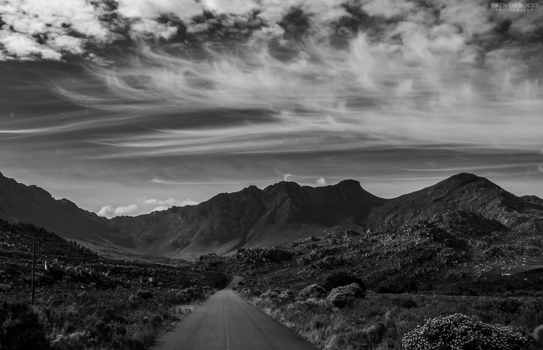 Black and White Landscape With Cirrus Clouds