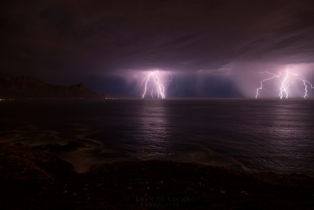 lightning over false bay