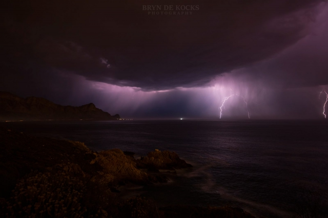 lightning over false bay south africa