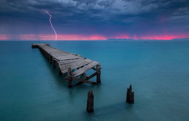 lightning sunset jetty