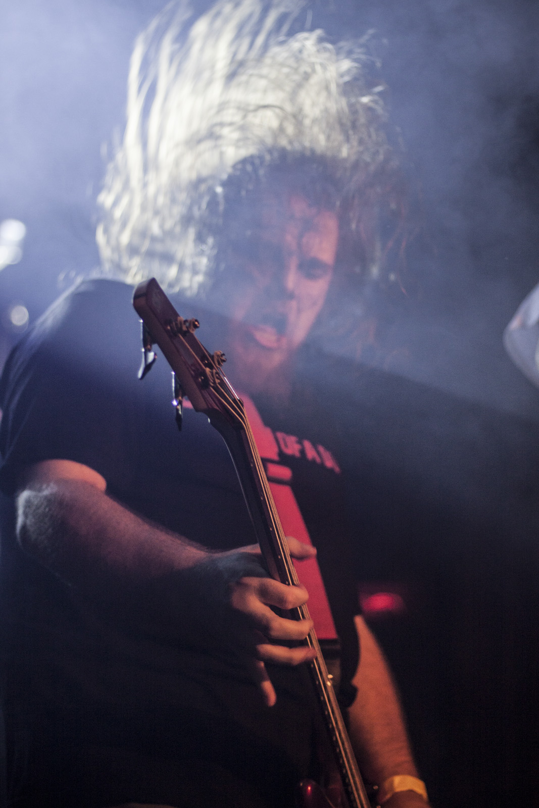 Bassist playing live